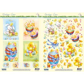 Estampado y motivos de hojas de Pascua, huevos de Pascua con patitos, pollitos y conejos
