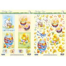 Estampage et feuille des motifs de Pâques, oeufs de Pâques avec canetons, poussins et lapins