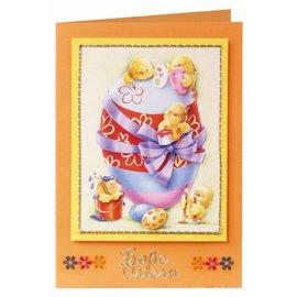 Stanz- und Motivebogen Ostern, Ostereier mit Entchen, Küken und Häschen