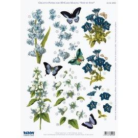 3D die cut sheet bluebells, gentian, iris, A4