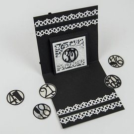 Tonic Studio´s NEW: punching and embossing stencils, Pop Up Sentiments Occasions Set, 10 pieces