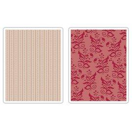 Sizzix 2 Embossing Folder 11,43x14,61 cm, border og Botanicals