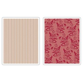 Sizzix 2 Embossing Folder 11,43x14,61 cm, Bordüre und Botanicals
