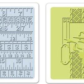 Sizzix Sizzix, 2 cartelle per goffratura 11,43x14,61 cm, set di nastri per cucire e misurare
