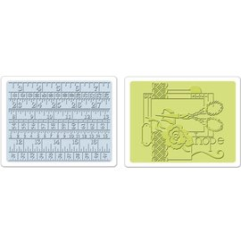 Sizzix Sizzix, 2 carpetas de grabación en relieve 11,43x14,61 cm, conjunto de cinta de coser y medir