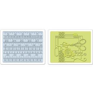 Sizzix Sizzix, 2 Embossing Folder 11,43x14,61 cm, naaien en meetlint Set