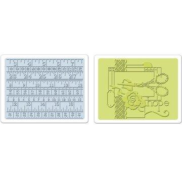 Sizzix Sizzix, 2 Embossing Folder 11,43x14,61 cm, Sewing und Measuring Tape Set