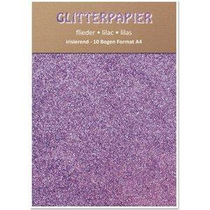 Karten und Scrapbooking Papier, Papier blöcke Glitter papier irisé, format A4, 150 g / m², lilas
