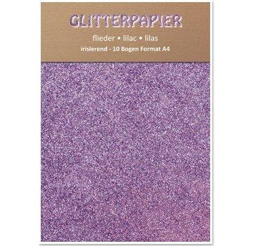 Karten und Scrapbooking Papier, Papier blöcke Glitter iriserende papir, A4, 150 g / m², lilla