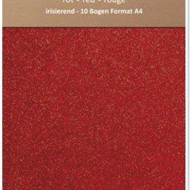 Karten und Scrapbooking Papier, Papier blöcke Papel brillo iridiscente, formato A4, 150 g / m², de color rojo
