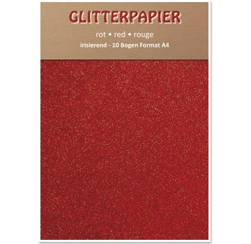 Karten und Scrapbooking Papier, Papier blöcke Glitter iriserende papir, A4-format, 150 g / kvm, rød