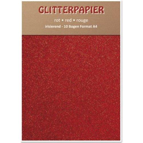 Karten und Scrapbooking Papier, Papier blöcke Glitter iriserende papier, formaat A4, 150 g / m², rood