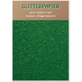 Karten und Scrapbooking Papier, Papier blöcke Glitter papier irisé, format A4, 150 g / m², vert