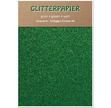 Karten und Scrapbooking Papier, Papier blöcke Glitter iriserende papir, A4-format, 150 g / kvm, grøn