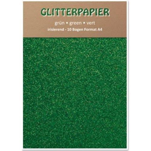 Karten und Scrapbooking Papier, Papier blöcke Glitter iriserende papier, formaat A4, 150 g / m², groen