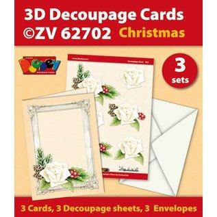 KARTEN und Zubehör / Cards Craft Kit for tre Decoupage Kort + 3 konvolutter