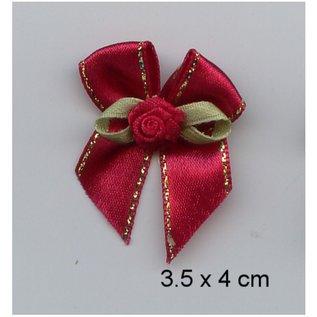 Embellishments / Verzierungen edele Minischleifchen rot, 5 Stück