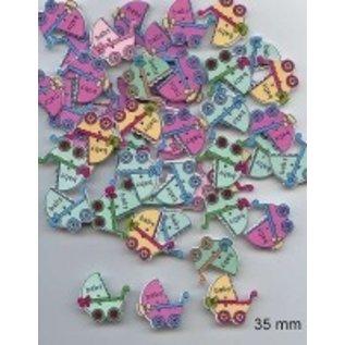 Embellishments / Verzierungen 6 decorative buttons 33 x 35mm, Design: Baby