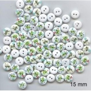 Embellishments / Verzierungen 10 Zierknöpfe 15 mm, Motiv: Blumen