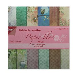 Joy!Crafts / Jeanine´s Art, Hobby Solutions Dies /  bloc de papier, 15x15cm, le monde de la chouette