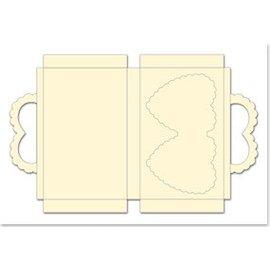 REDDY Sak satt med hjerter, fløte, format 25x15cm, 3 stykker!