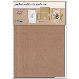 KARTEN und Zubehör / Cards Materialset für 3 Geschenkbuchkarten Auswahl in weiss, hell- oder dunkelbraun!