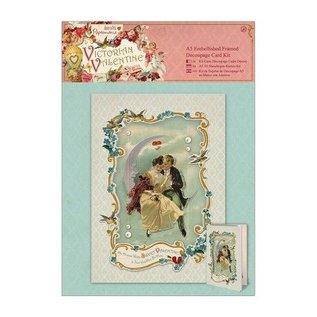 KARTEN und Zubehör / Cards A5 verfraaide ingelijste decoupage kaartenset - Victoriaanse valentijn