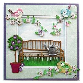 Marianne Design Gaufrage et tapis de coupe, banc de jardin