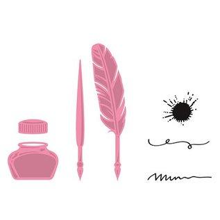 Marianne Design Embossing en snijden template + stempel, pen, pen en inkt