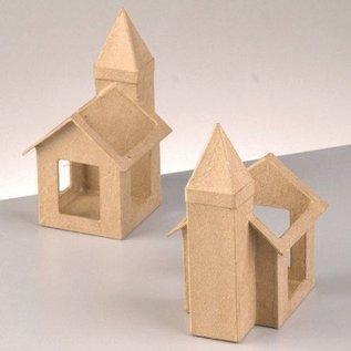 Objekten zum Dekorieren / objects for decorating PappArt shell, kerk kaarsen voor glas, 10,5 x 8,5 x 15 cm