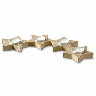 Objekten zum Dekorieren / objects for decorating Kerzenhalter, 4 Sterne Alueinsatz halbrund, 48,5 x 22 x 2,5 cm