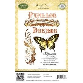 """JUSTRITE AUS AMERIKA Justrite, frimærkesæt, gummistempel, """"Papillon Dreams"""", SAMLINGELIGT STykke!"""