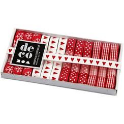 Ribbon Collection, B: 10 mm, rød / hvid-harmoni, 12x1 m