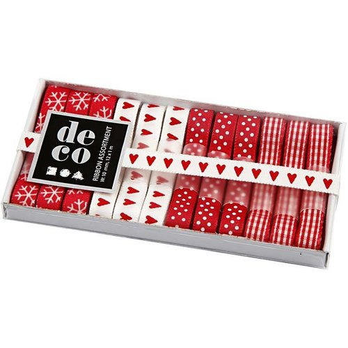 DEKOBAND / RIBBONS / RUBANS ... Collectie lint, b: 10 mm, rood / wit-harmonie, 12x1 m