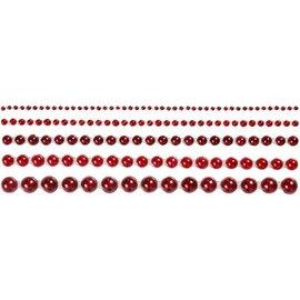 Embellishments / Verzierungen Half pearls, size 2-8 mm, red, ranked 140