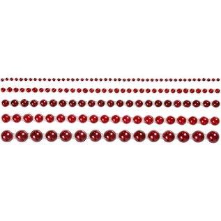 Embellishments / Verzierungen Halve parels, grootte 2-8 mm, rood, gerangschikt 140