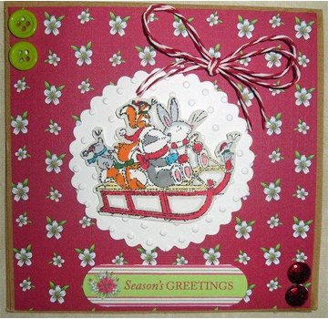 Docrafts / Papermania / Urban Clear stamps, 75 x 75mm, Pippi Wood Christmas - Sledge