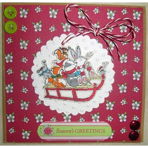 Docrafts / Papermania / Urban Clear stempels, 75 x 75mm, Pippi Hout Kerst - Sledge