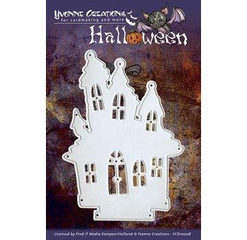 Yvonne Creations Ponsen en embossing sjabloon, Yvonne Creations - Halloween - Huis