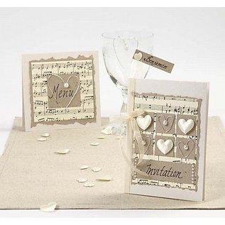 KARTEN und Zubehör / Cards 10 schede madre di perla e buste, formato carta 10,5x15 cm, crema