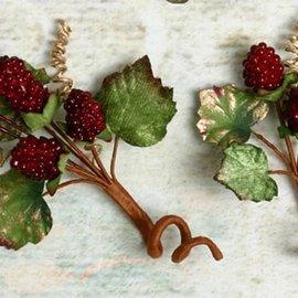 Embellishments / Verzierungen Embellissements, décorations, baies, Bourgogne en couleur, 2 pièces
