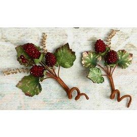 Embellishments / Verzierungen Pynt, dekorasjoner, bær, Color Burgund, 2 stk