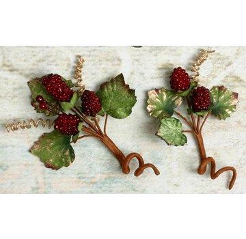 Embellishments / Verzierungen Abbellimenti, decorazioni, frutti di bosco, colore bordeaux, 2 pezzi