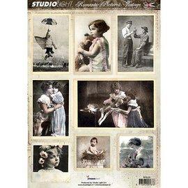 Vintage, Nostalgia und Shabby Shic Feuille de coupe A4 - Photo Romantique