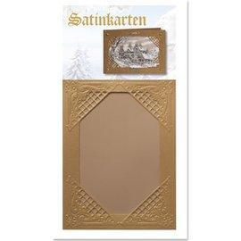 KARTEN und Zubehör / Cards 3 Winter satijn gouden kaarten