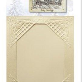KARTEN und Zubehör / Cards 3 Winterliche Satinkarten creme