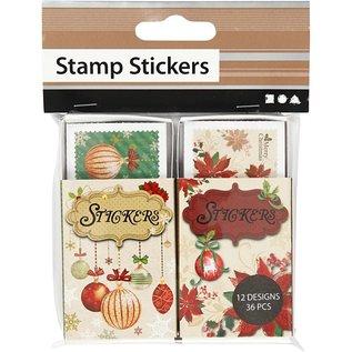 STICKER / AUTOCOLLANT Pretty gekarteld sticker, afmetingen 25x33 mm, 36 orde, kerst motief