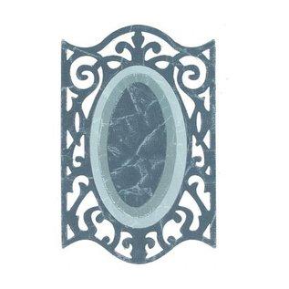 Sizzix Framelits Set met 3 patronen, Oval w / Ironwork Edges