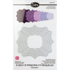 Sizzix Framelits Set di 5 modelli, etichette, Fancy
