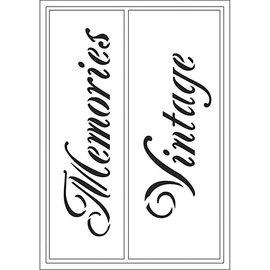Schablonen, für verschiedene Techniken / Templates Modelli flessibili, ufficiale 21x14,8 cm, Ricordi / Vintage, 1 pc.